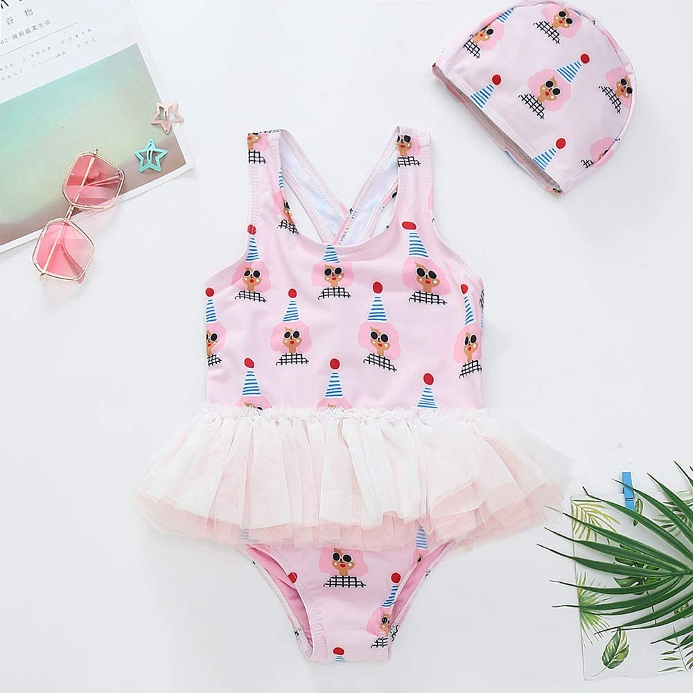 Lucky-BB Baby Toddler Girls One Piece Swimsuit Bathing Suits Ruffle Swimwear with Cap 1-8 Years