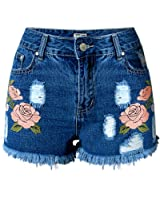 Dreamskull Womens High Waist Frayed Hem Peony Embroidered Denim Shorts
