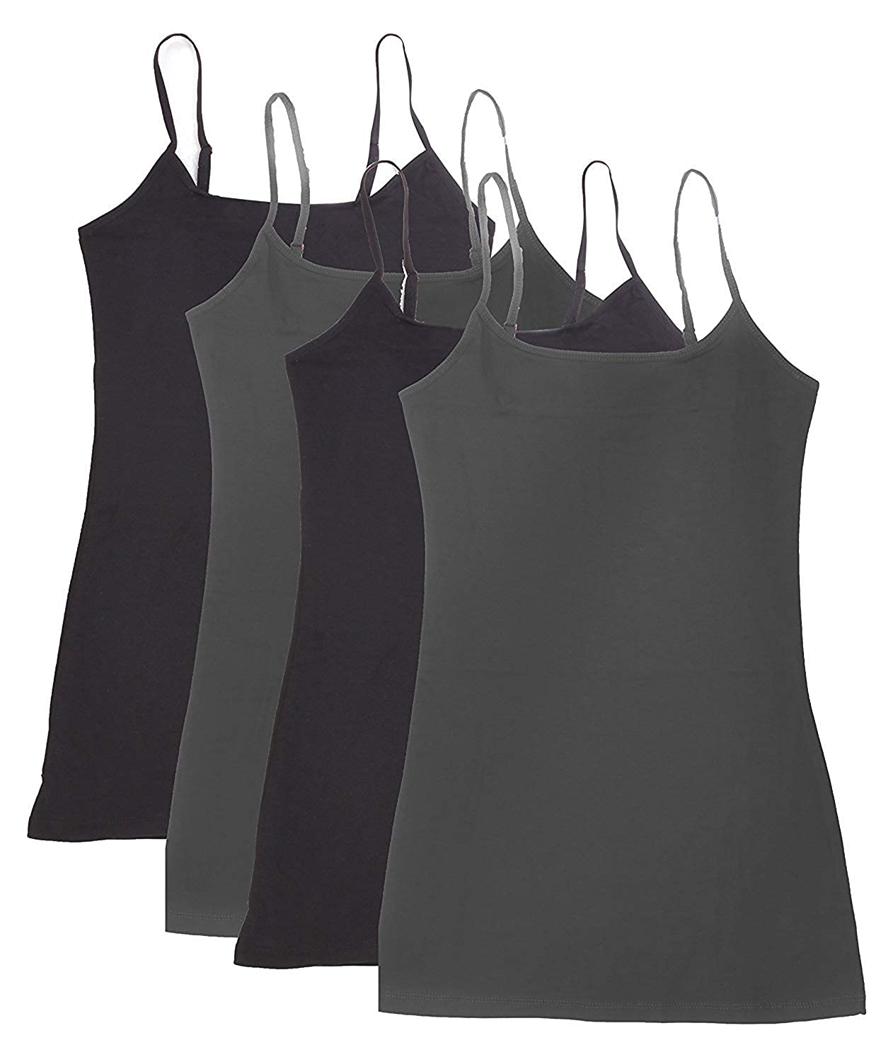 4 Pack Womens Basic Cotton Camisoles Tanks W//Adjustable Straps