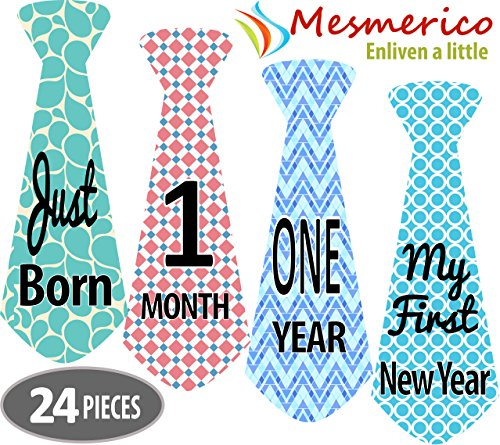 NEW! Mesmerico 24 Baby Monthly Holiday Tie Necktie Stickers - Baby Boy First Year Month Age Growth Milestones - Month Stickers for Baby Onesie Belly Stickers - Unique Baby Shower Newborn Gifts