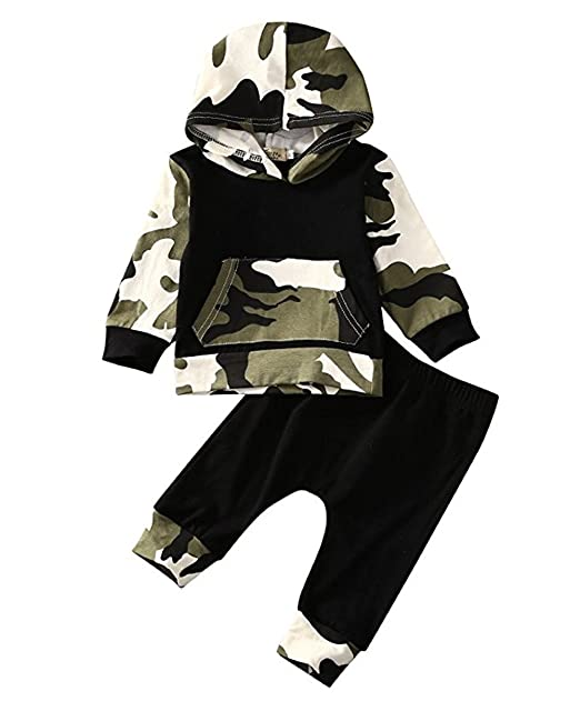 67d7120f450ac Amazon.com: Infant Baby Boys Camouflage Hoodie Tops +Long Pants Outfits Set  Clothes 0-3Y: Clothing