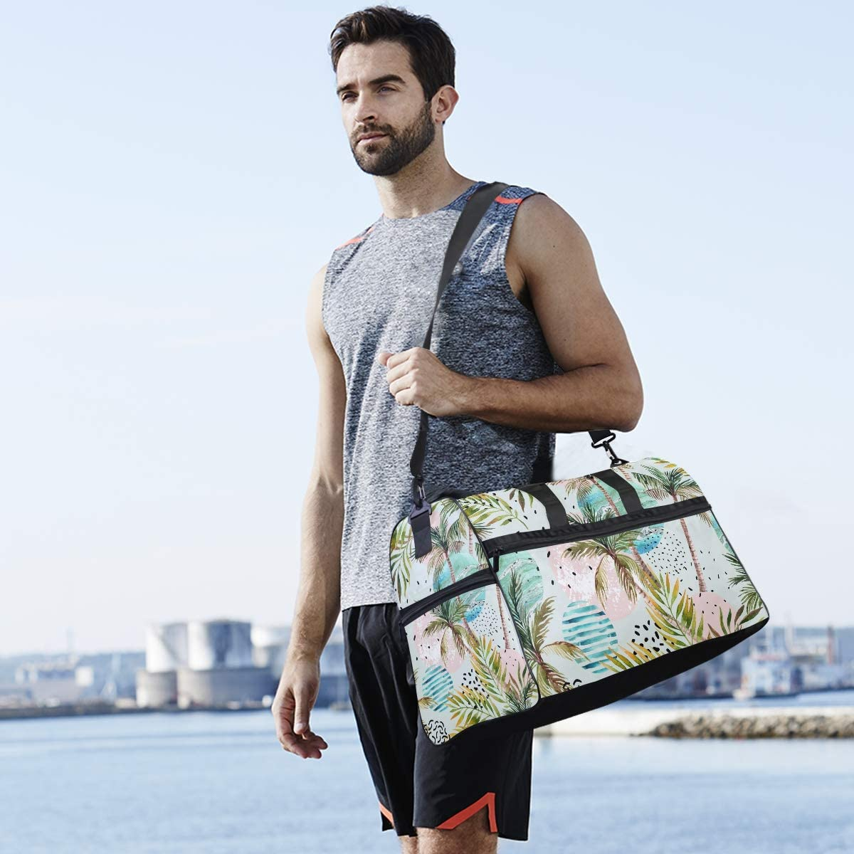 TFONE Watercolor Tropical Palm Tree Duffel Bag Sports Gym Weekend Bags with Shoe Compartmen