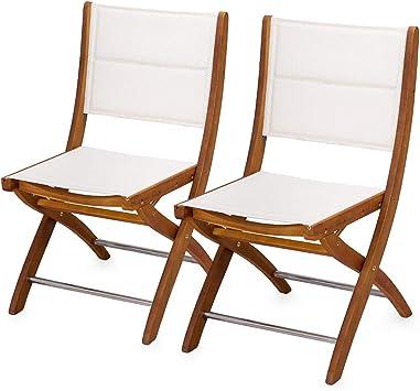 Silla plegable madera blanca tela exterior jardín AC805029 decoración de casa: Amazon.es: Bricolaje y herramientas