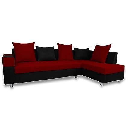 Adorn India Adillac 5 Seater Corner Sofa (Maroon & Black)