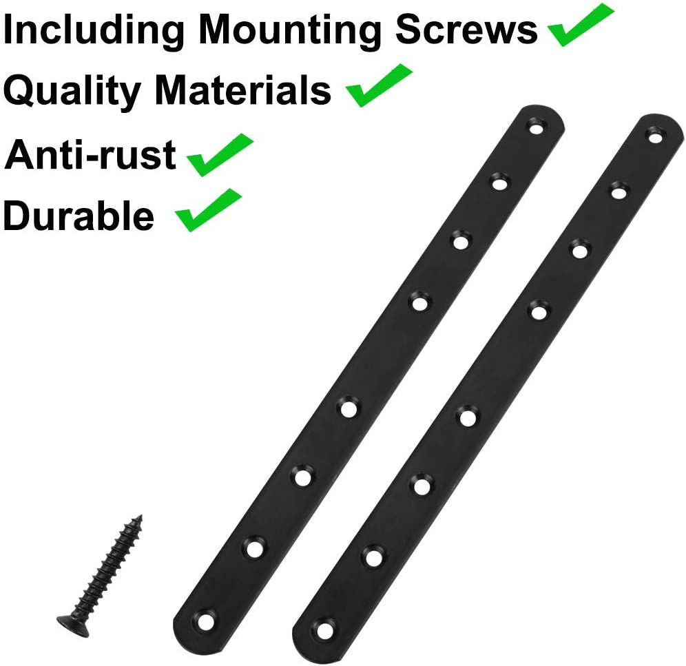 uxcell Straight Bracket Stainless Steel 248x20mm Flat Brace Corner Fastener with Screws for Flat Straight Corner Brace Joint Repair Plate Brackets Black Color 4 Pcs