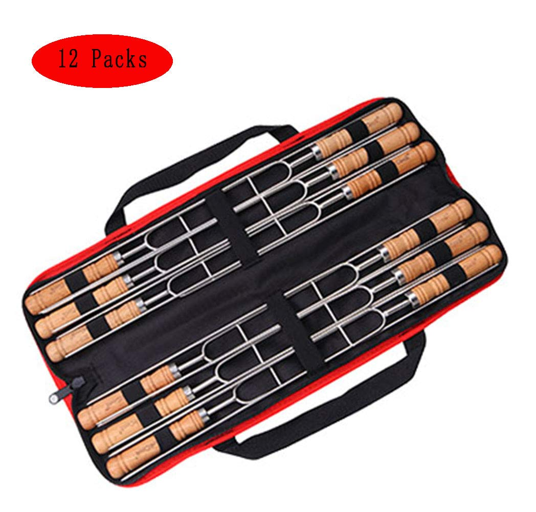 304 Stainless Steel Barbecue Forks Wooden Handle Double Fork Design,with Storage Pouch Handy Portable,12Packs