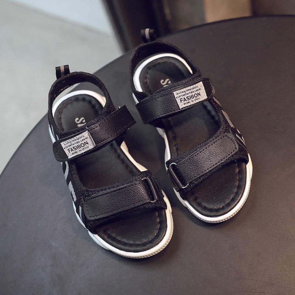 Tomppy Toddler Infant Girl Boy Unisex Letter Korean Version Open Toe Sandal Breathable Casual Beach Sport Shoes Black