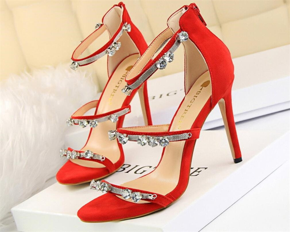 LUCKY ROAD Strass Stiletto Heel High Heels Sandalen Wildleder Plattform Frauen Mauml;dchen Braut Hochzeit Nachtclub Bar Moderne Feminine Schuhe  EU38|Red