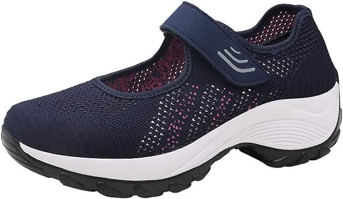 HOUMENGO Zapatos de Señora Plantilla con Memoria Pequeña Cuña ...