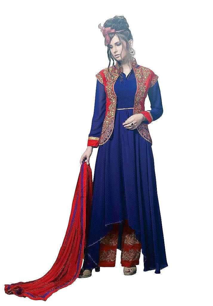 Sourbh Mirchi Fashion Women's Blue Party wear Koti Style Semi Stitched Salwar Suit
