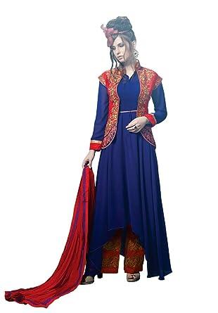 4277c18438e Sourbh Mirchi Fashion Women's Blue Party wear Koti Style Semi Stitched  Salwar Suit