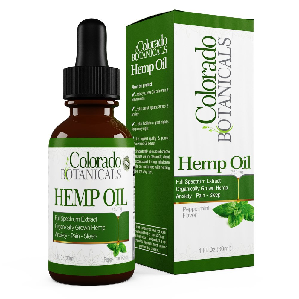 Full Spectrum Hemp Oil - 750mg 1oz - Natural Hemp Extract with 0% THC   Pure Organic   Relief for Depression, Anxiety, Stress, Sleep, Pain - Improve Mood & More!   Rich in Omega 3,6, 9 Fatty Acids