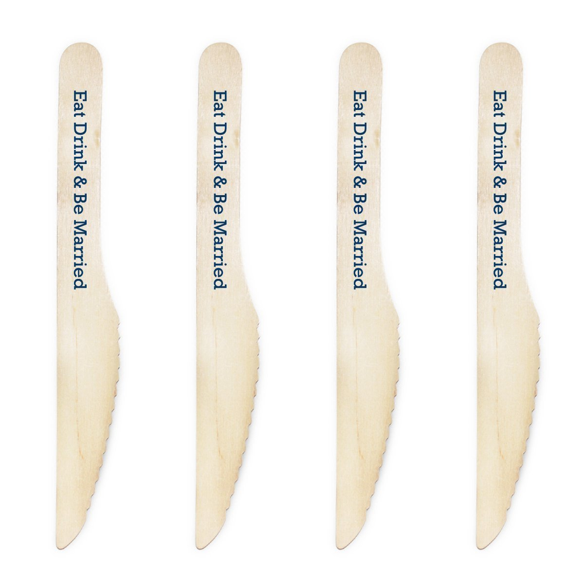 Dress My Cupcake Natural Wood Candy 200-Pack Buffet Knives DIY Kit, Eat Drink and be Married, Harbor