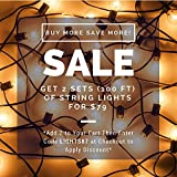 50ft Globe String Lights, 60 G40 Bulbs (10 Extra), Connectable, Waterproof, Indoor/Outdoor String Lights, Perfect for Patios, Parties, Weddings, Backyards, Gazebos, Pergolas & More (Black)