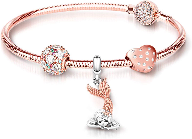 GNOCE Mysterious Compass Charm Perle S925 Sterling Silber Du bist Meine Welt Charm Perlen f/ür Armband Halskette Schmuck Geschenk f/ür Damen