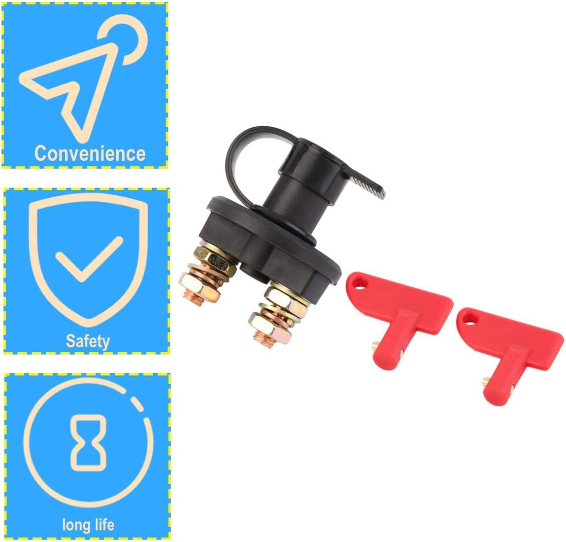 12V//24V Universal Automobile Car Truck Boat Battery Isolator Disconnect Cut Off Power Kill Switch Waterproof Switch