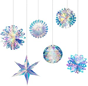 Joyclub Iridescent Party Supplies Kit with Hanging Honeycomb Ball Ceiling Hanging Flowers Decorative Paper Fan for Birthday Wedding Christmas Party Decorations