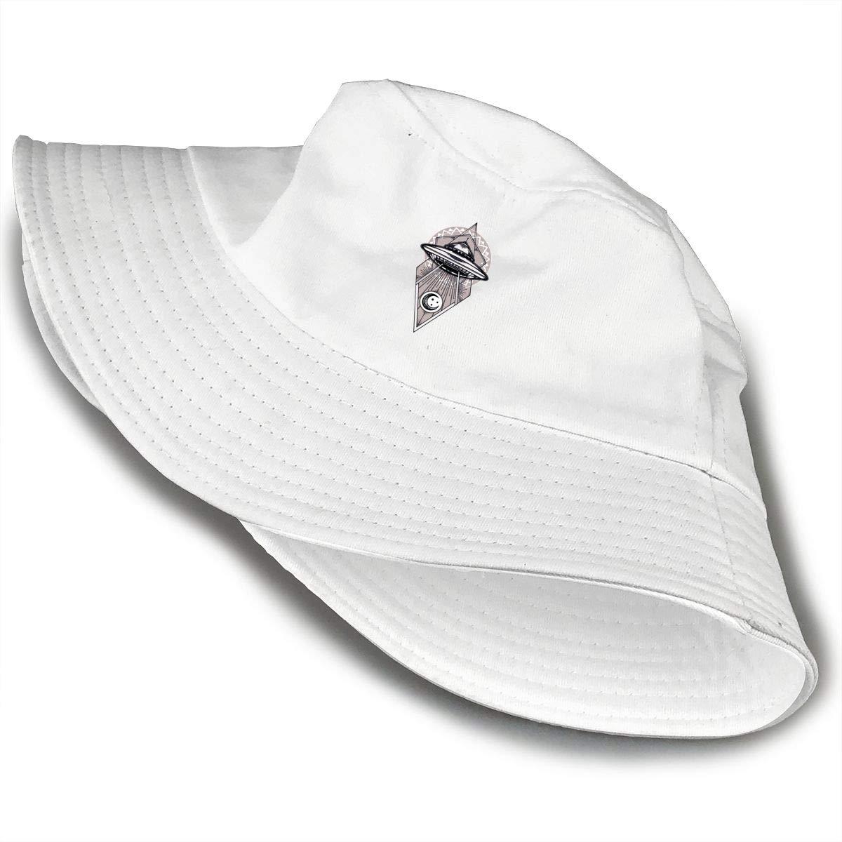 NDFGR Alien Research Institute Unisex Cotton Packable Black Travel Bucket Hat Fishing Cap