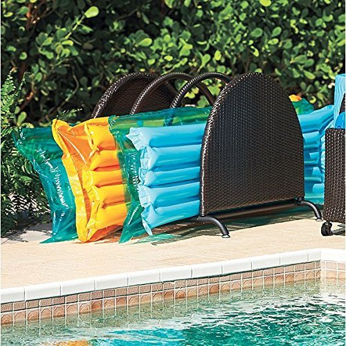 Espresso Brown Outdoor Resin Wicker Pool Toy Raft Inflatable Noodle Storage Caddy Rack Organizer 35