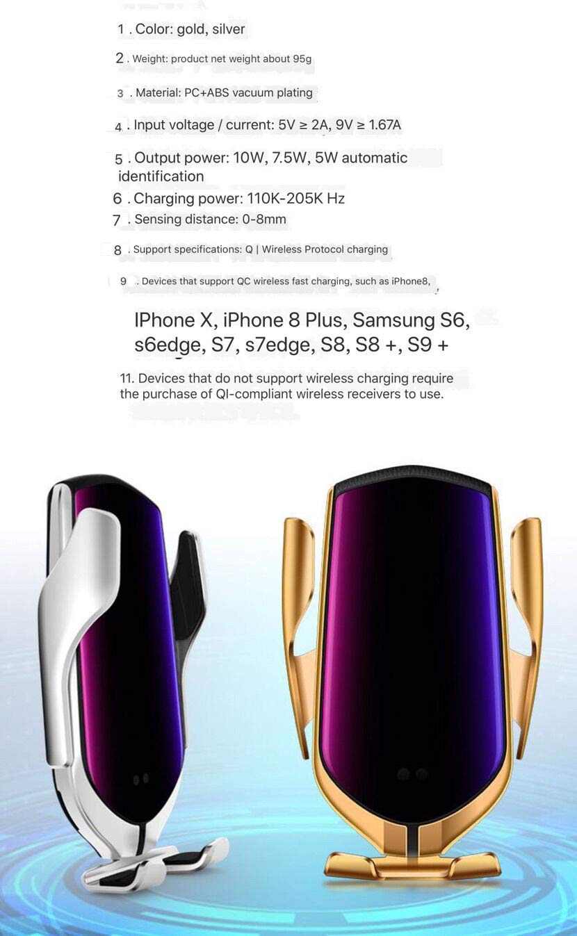 Car Charger Holder for iPhone XR XS Max X 8 8 Plus,10W Fast Charging for Samsung All.Infrared Motion HeFeiQiaoMai Automatic Clamping Wireless Car Charger Mount