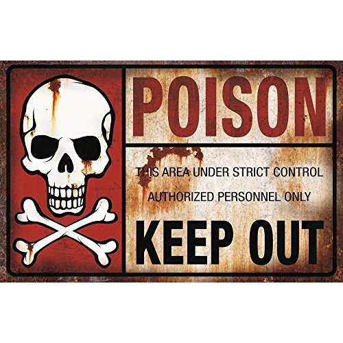Poison Keep Out Metal Sign Halloween Decoration -