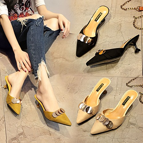 With High Women'S Spring Comfortable Sharp And Suede Heeled Baotou Summer Cool Slippers Fashionable Women'S Pointed Wear yellow Sandals P5r5wHqg