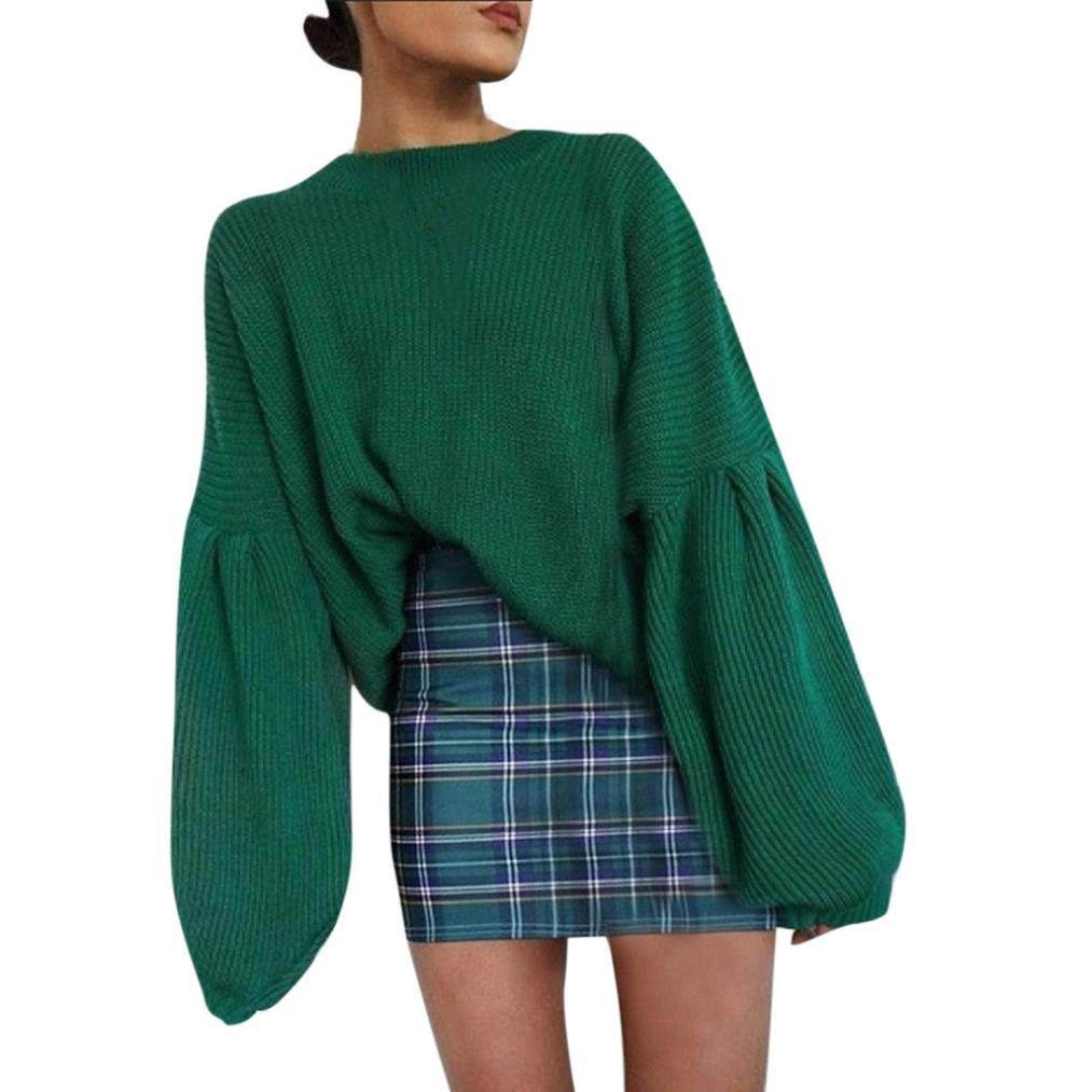 Women Oversized Sweater Solid Long Lantern Sleeve Knit O-Neck Top Loose Shirt(Green,Medium)