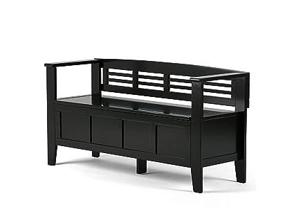Simpli Home Adams Entryway Storage Bench in Black