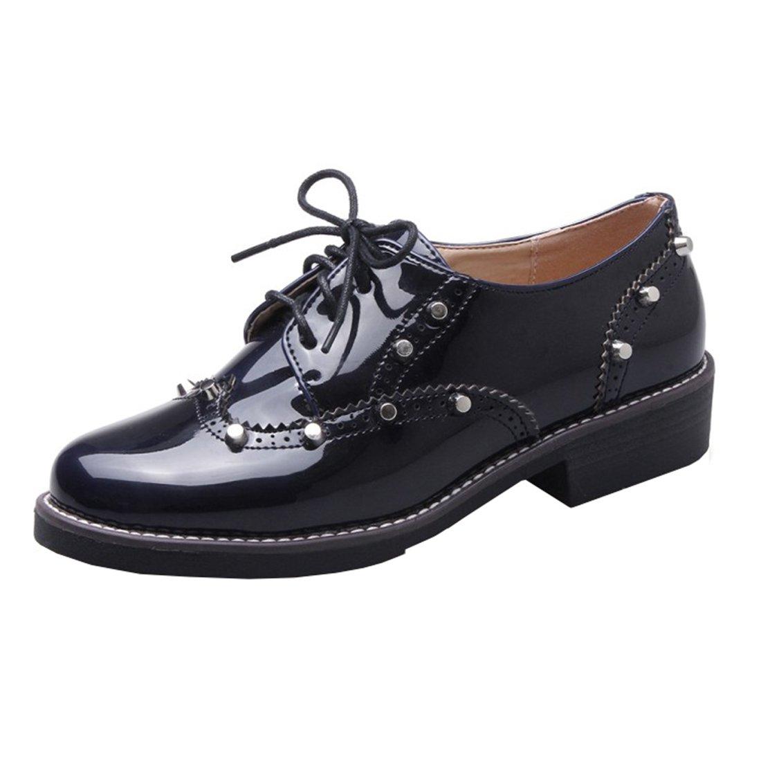 UH Bequeme Damen Flache Heels Lack Pumps mit Schnuuml;rung und Nieten Freizeit Vintage Schuhe36 EU|Blau