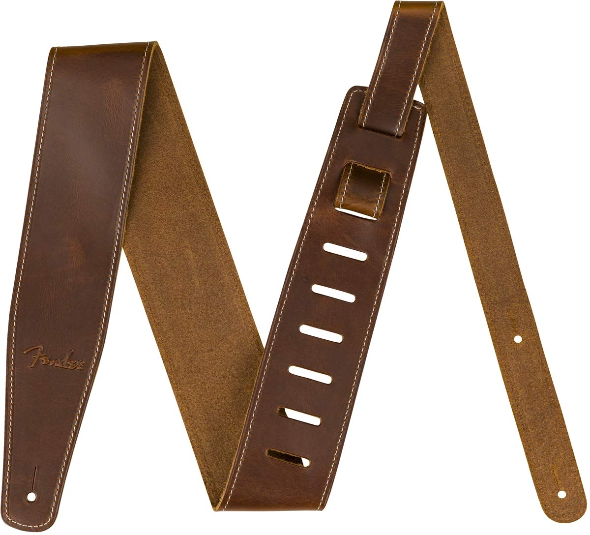 Fender Broken-In Leather Strap, Brown 2.5'' by Fender
