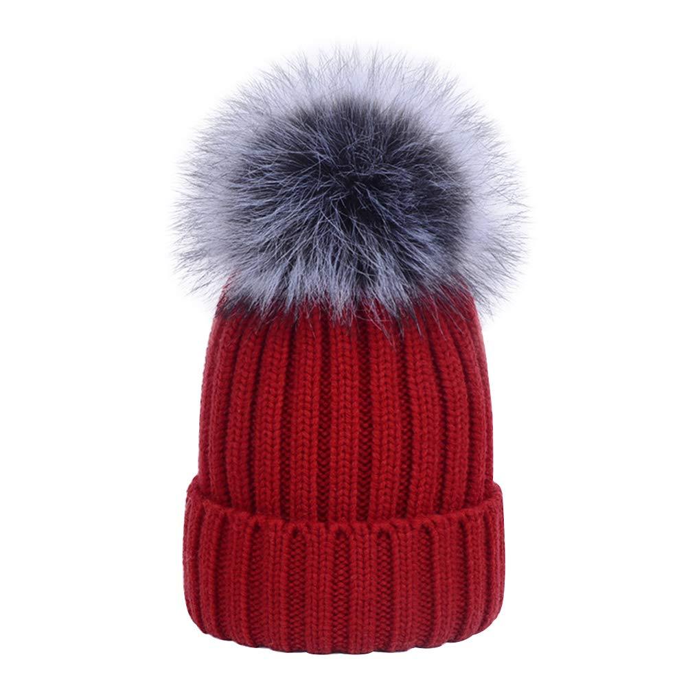 Youngsoul Baby Boys Girls Warm Knitted Ski Winter Bobble Hat with Faux Fur Pom Pom Beanie