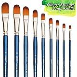 Filbert Paint Brushes Set, 9 Pcs Professional Artist Brush for Acrylic Oil Watercolor Gouache Painting Long Handle…