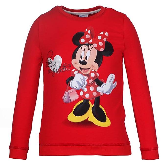 DISNEY Niñas Minnie Mouse Sudadera, rojo, talla 128, 8 años: Amazon.es: Ropa y accesorios