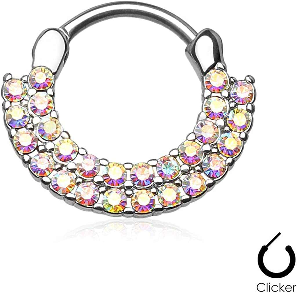 316L Surgical Steel Septum Clicker Helix Nose Ring Hoop Aurora CZ Ring