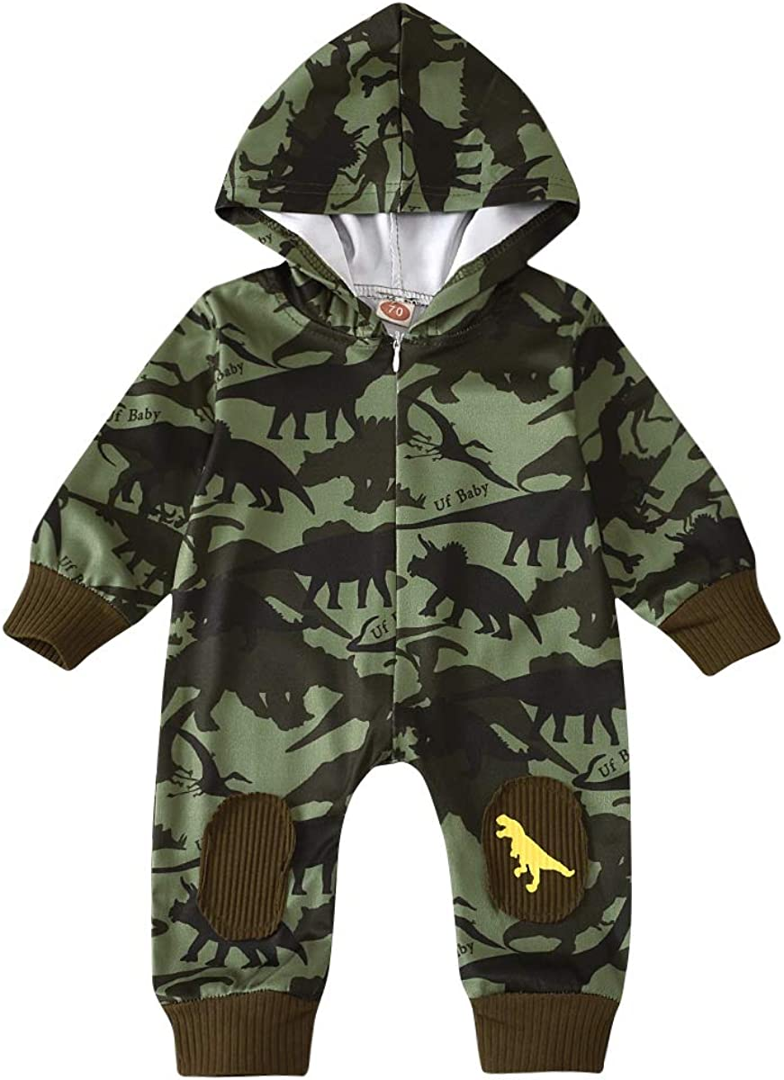 TUEMOS Newborn Baby Boys Clothes Cute Dinosaur Long Sleeve Romper Jumpsuit One Piece Overall Outfits