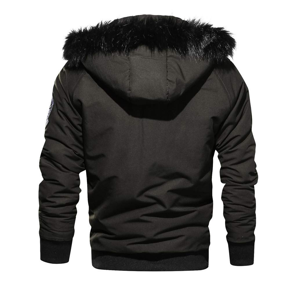 QUINTRA Winter Coats for Men Mens Winter Cashmere Thickened Pocket Cotton Coat Outwear Breathable Coat