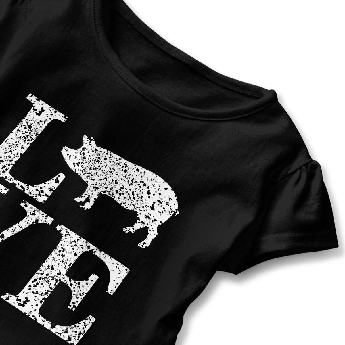 Distress Love Pig Toddler Girls T Shirt Kids Cotton Short Sleeve Ruffle Tee