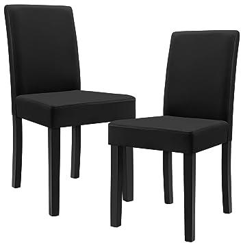 [en.casa]®] 2 sillas tapizadas (Negro) (Alta Calidad) con Patas de Madera Maciza/Piel sintética/Elegante /