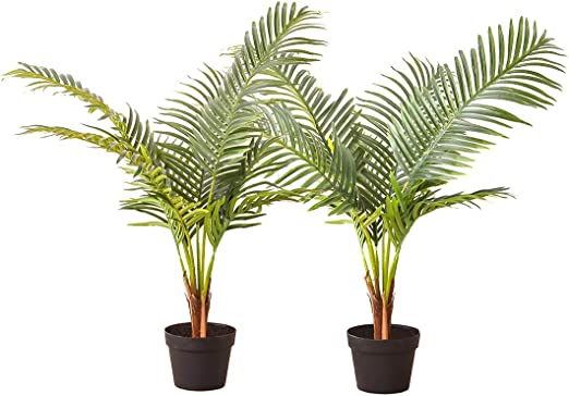 Artificial Bamboo Tree Palm in Plastic Pot Tropical Faux Fake Plants 130cm