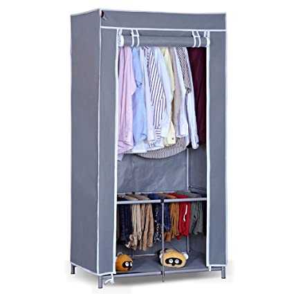 Exceptionnel Win Win Portable Storage Closet With Rolling Curtain Wardrobe Closet  Clothes Organizer Cabinets Armoire (
