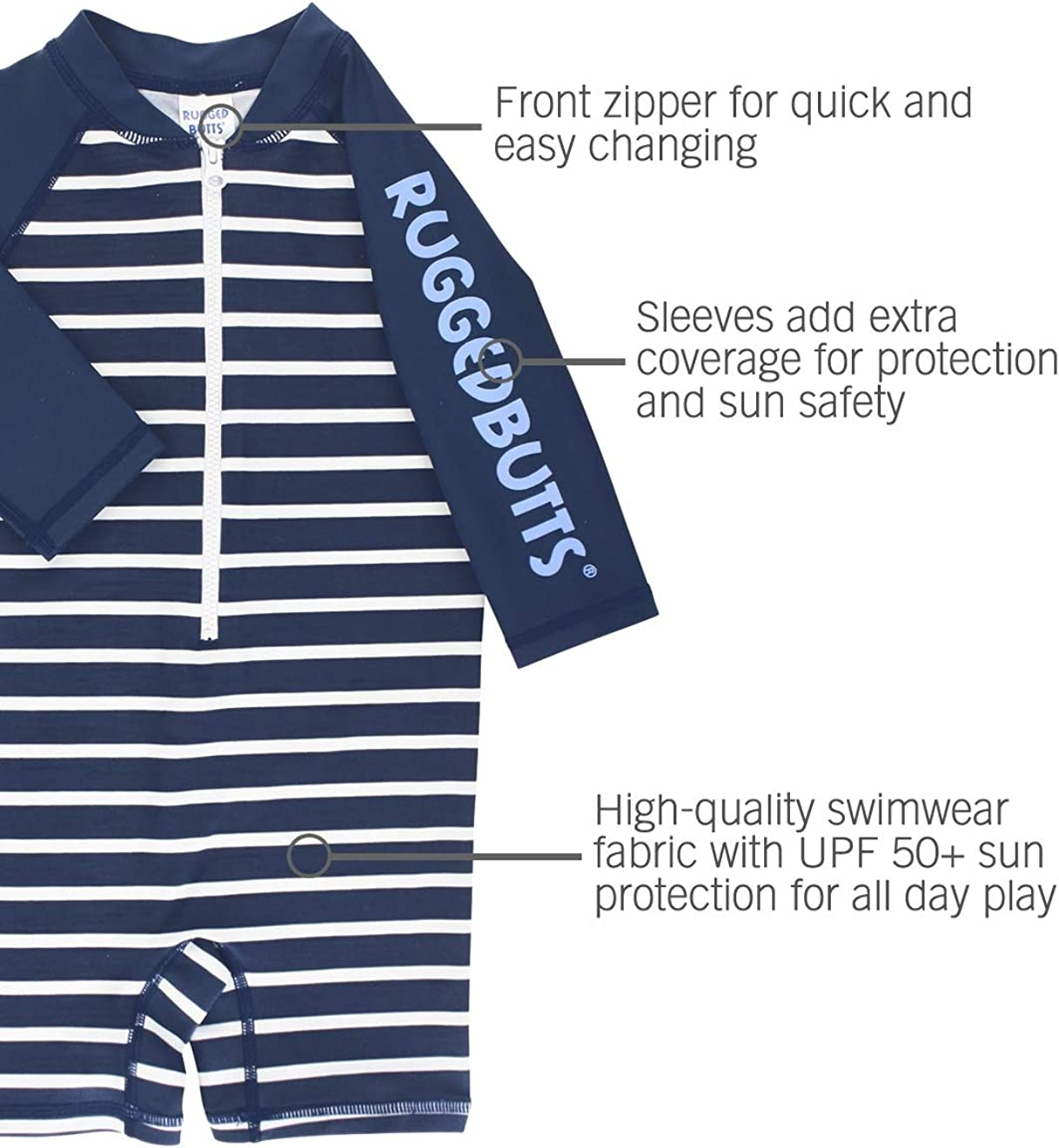 RuggedButts Baby//Toddler Boys Long Sleeve Rash Guard Swim Shirt w//UPF 50+