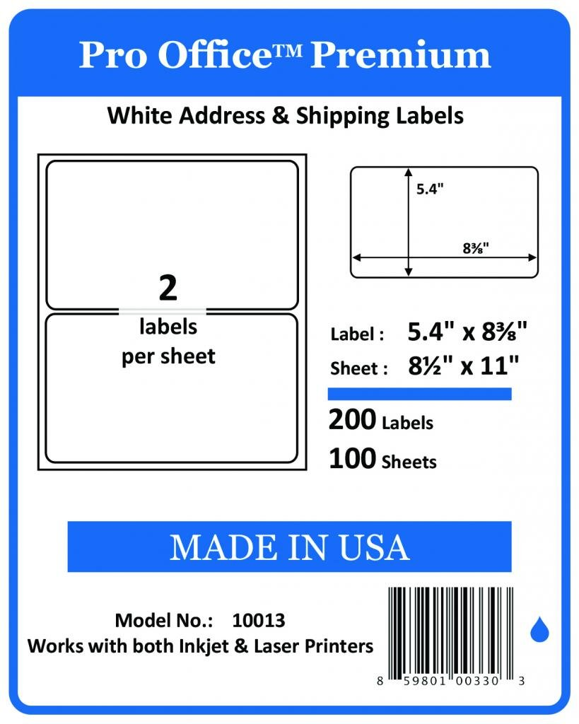 Pro Office Premium 200 Round Corner Blank Half Page Self Adhesive Shipping Labels for Laser Printers & Ink Jet Printers Made In USA White 5 3/8'' X 8 3/8'' 200 Pack