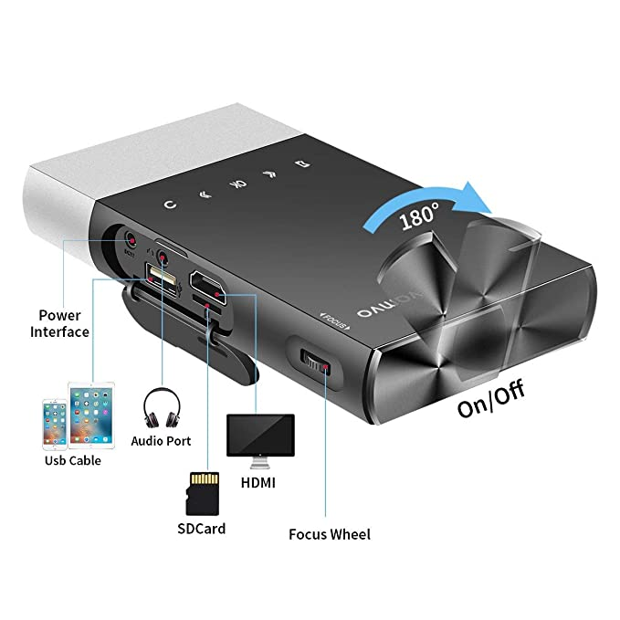 JHDUID Proyector HD portátil 1080p HD Phone Direct Connect DLP ...