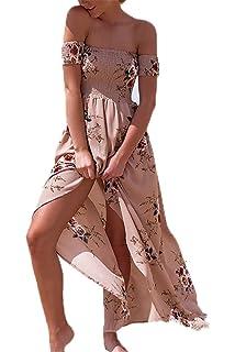 129bb1924e5dd7 Sommerkleider Damen Lang Strand Abendkleid Schulterfrei Maxikleid Off  Shoulder Elegant Blumendruck