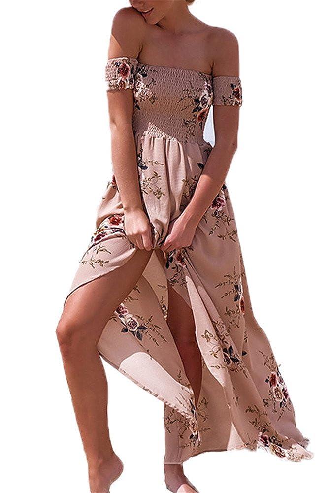 Sommerkleider Damen Lang Strand Abendkleid Schulterfrei Maxikleid Off Shoulder Elegant Blumendruck