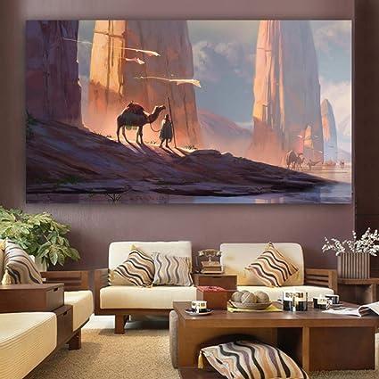 wangpdp Poster Leinwand Malerei Landschaft Wüste und Kamel ...