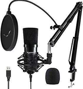 Warmray USB Condenser Microphone Kit with Boom Arm for Computer/Laptop/Desktop/PC, Podcast Microphone, Gaming Mic, PS4 Mic, Studio Mic for YouTube/Music Recording/Voice Over, Plug & Play, 192KHz/24Bit
