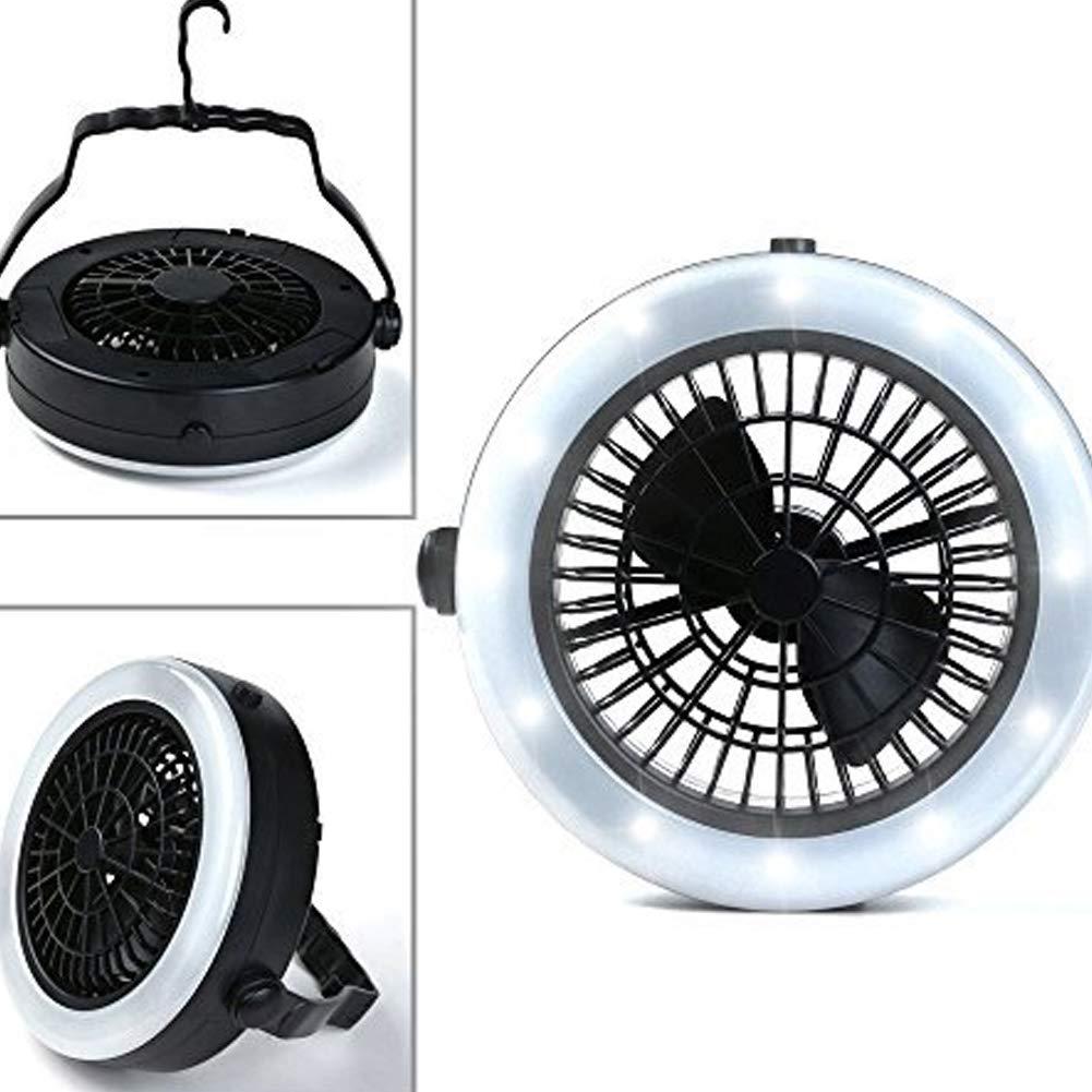 Senderismo Negro Farol LED port/átil para Acampada con Ventilador de Techo y l/ámparas de Camping para Camping emergencias JER