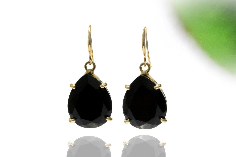 Black onyx earrings,dangle earrings,gold earrings,drop earrings,teardrop earrings,gemstone earrings,black earrings