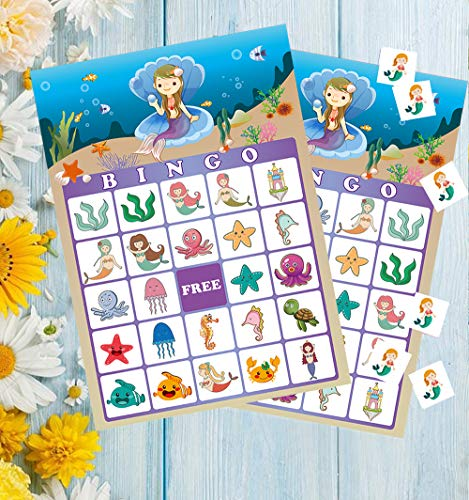 Mermaid Bingo Games for Kids - Under the Sea Birthday Party Supplies Decorations Favors(23 Players)